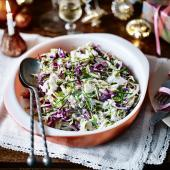 Colourful three-cabbage slaw with lemon buttermilk dressing