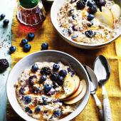 Apple, blackberry and blueberry bircher muesli