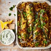 Turmeric roast mackerel with spiced chickpeas and raita