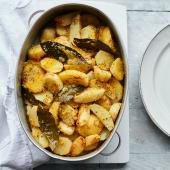 Greek-style lemon and bay potatoes