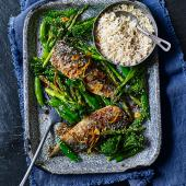 Traybaked teriyaki mackerel with greens