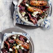 Sausages with mustardy lentils, beetroot and feta