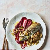 Herbed mackerel with beetroot purée and mushrooms