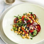 Warm chorizo and chickpea salad
