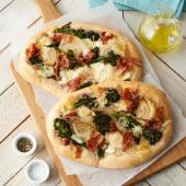 Purple sprouting broccoli and Parma ham pizza