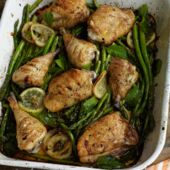 Fast roast chicken with asparagus