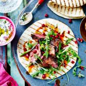 Persian spiced lamb wraps