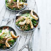 Tempura prawn salad with pickled ginger