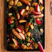 Sausage and apple traybake