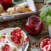 Quick raspberry and lime jam