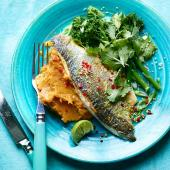 Pan-fried lime and ginger sea bass