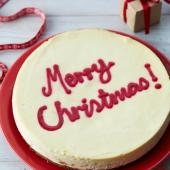 Merry Christmas white chocolate and cranberry cheesecake