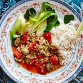 Thai turkey mince with aromatic rice and wilted greens
