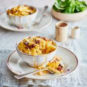Baked macaroni, chorizo and Chaource cheese pots