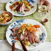 Pan-fried duck with soft herb and grapefruit slaw