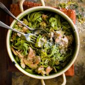 Salmon and watercress chilli pesto pasta