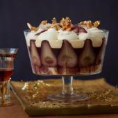 Mulled wine pear trifle