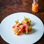 Serrano ham and basil-infused melon