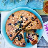 Pear, blueberry and hazelnut cake