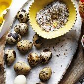 Quail eggs with fennel and chilli salt