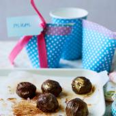 Gold-dusted salted chocolate truffles