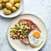 Gammon and egg with salsa