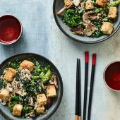 Crispy tofu with miso veg