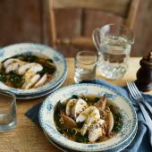 Chicken and giant couscous broth