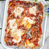 Chorizo baked eggs with peperonata