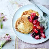 Coconut drop scones with blueberry and apple compote