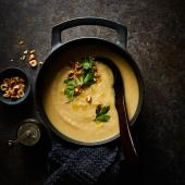 Roasted celeriac soup with hazelnut crumbs