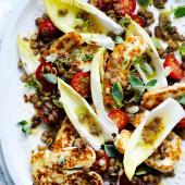 Zingy lentil and halloumi salad