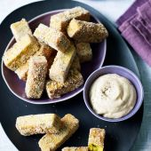 Turmeric and chickpea chips with tahini lemon dip