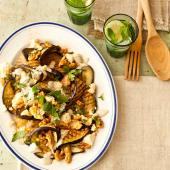 Aubergine with Lancashire cheese, walnuts & yogurt