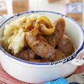 Pork sausages with celeriac potato mash