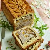 Raised pork, rosemary and apricot pie