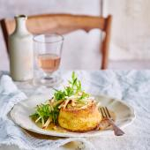 Twice-cooked goats' cheese soufflés with apple and walnut salad