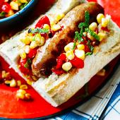 Sausages with spicy charred corn salsa