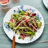 Warm pickled veg with seared tuna and herbs
