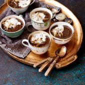 Mushroom and chestnut soup with truffle oil