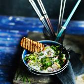 'Quick pickled' rice noodle salad with soy-glazed griddled tofu