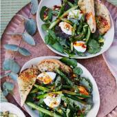 Chargrilled asparagus, pistachio and ricotta salad