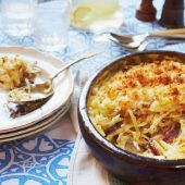 Potato bake with anchovies