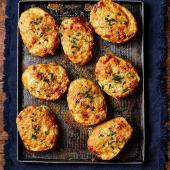 Welsh rarebit-loaded potato skins