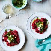 Beetroot and goats' cheese risotto with mint gremolata