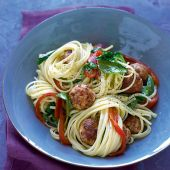 Linguine with turkey meatballs and roasted peppers