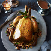 Roast chicken, gluten-free stuffing and redcurrant gravy