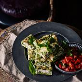 Pea, feta and basil frittata squares with a tomato salsa