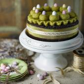 Chocolate orange Simnel cake with pistachio marzipan