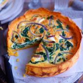 Spinach, red onion and feta quiche with a polenta crust
